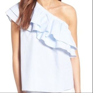 NWT || Halogen One-Shoulder Cotton Poplin Top